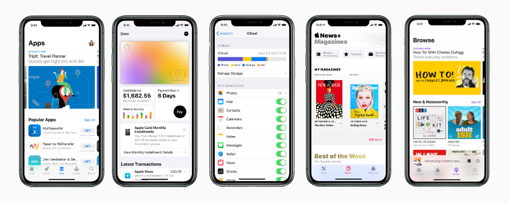 Apple Services on iPhone. L-R App Store, Apple Card, iCloud, Apple News+, Apple Podcasts