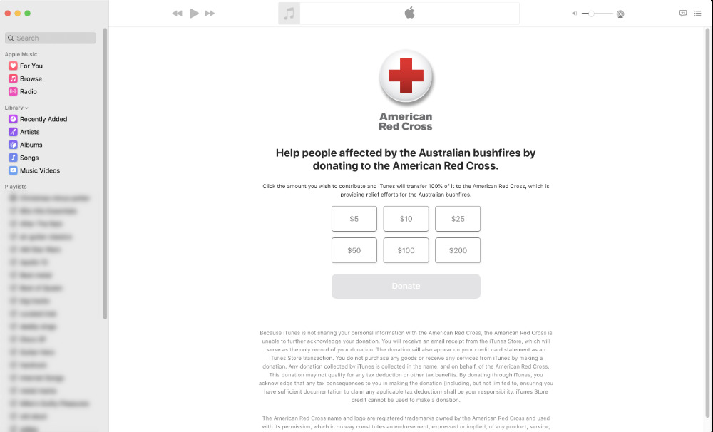 The US donations page in the macOS Music app