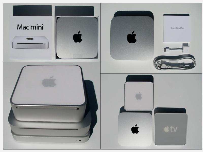 The redesigned 2010 Mac mini compared to its predecessor and the then-new Apple TV.