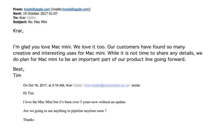 Tim Cook responds to Mac mini criticism in 2017
