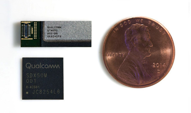 Qualcomm's 5G NR mmWave module and antenna, with penny for scale.
