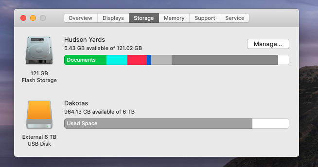 It's a shame it won't do it for all your drives, but it is very useful that macOS will breakdown the storage on your boot drive