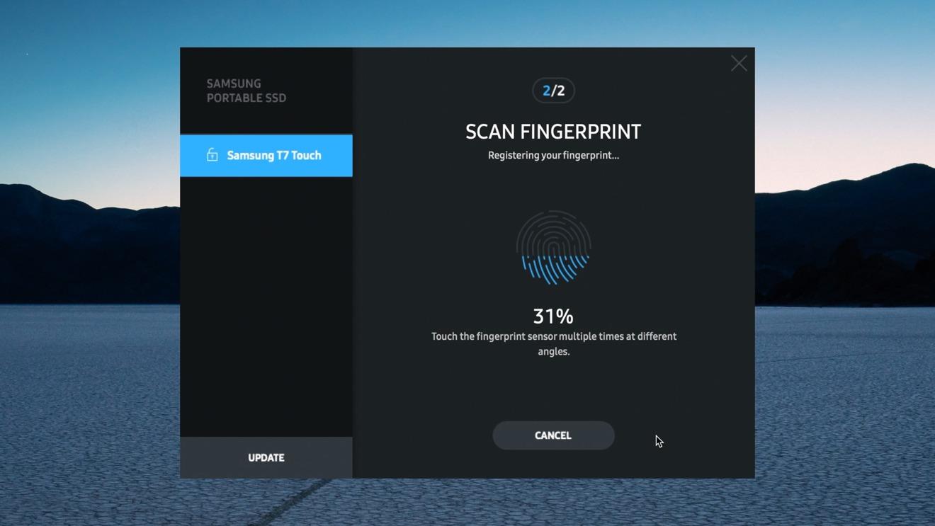 Samsung T7 Touch SSD fingerprint enrollment