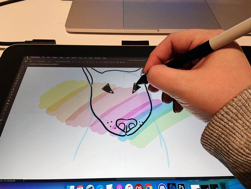 The angle of the tablet is okay —  but not ideal for drawing.