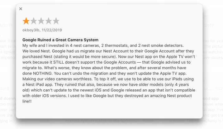 An App Store review for the Nest app showing some of the effects of Google's lack of updates