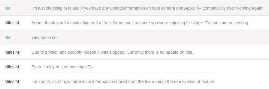 Extract from a Nest customer's chat with support