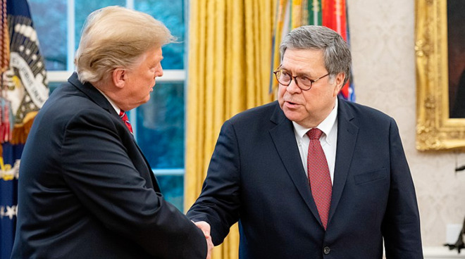 Attorney General William Barr with President Donald Trump