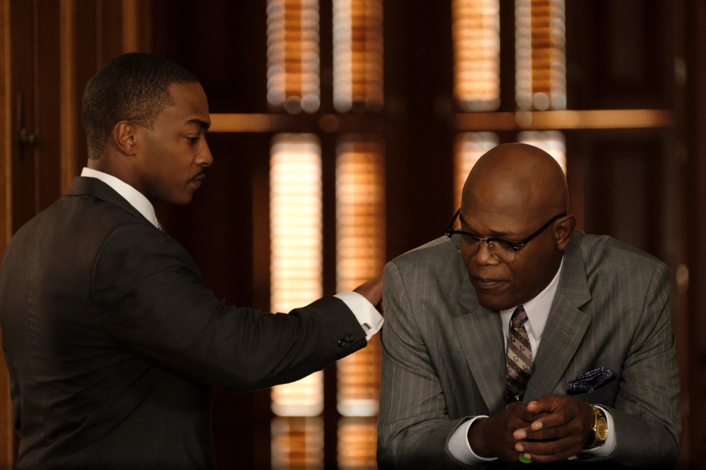 Anthony Mackie and Samuel L. Jackson in Apple TV+ The Banker