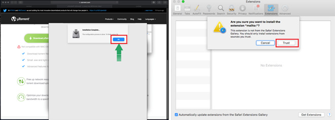 Left: what the user sees. Right: what the Mac is actually displaying (Source: Kaspersky)