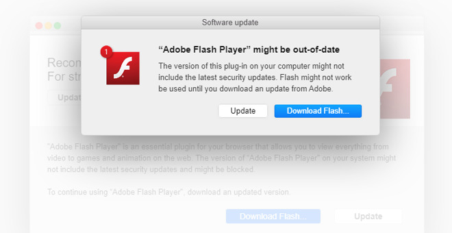 A fake Flash update notification on a site. (Source: Kaspersky)