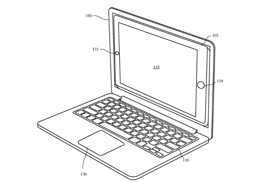 Detail from the patent. It looks at first like a regular laptop, but that's an iPad docked where the screen usually is.