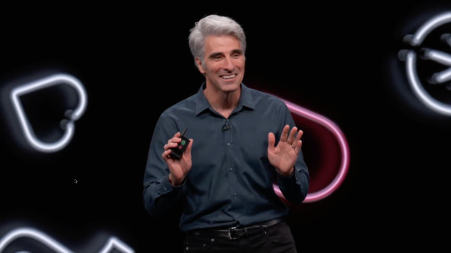 A typically sombre, dour Craig Federighi at WWDC 2019