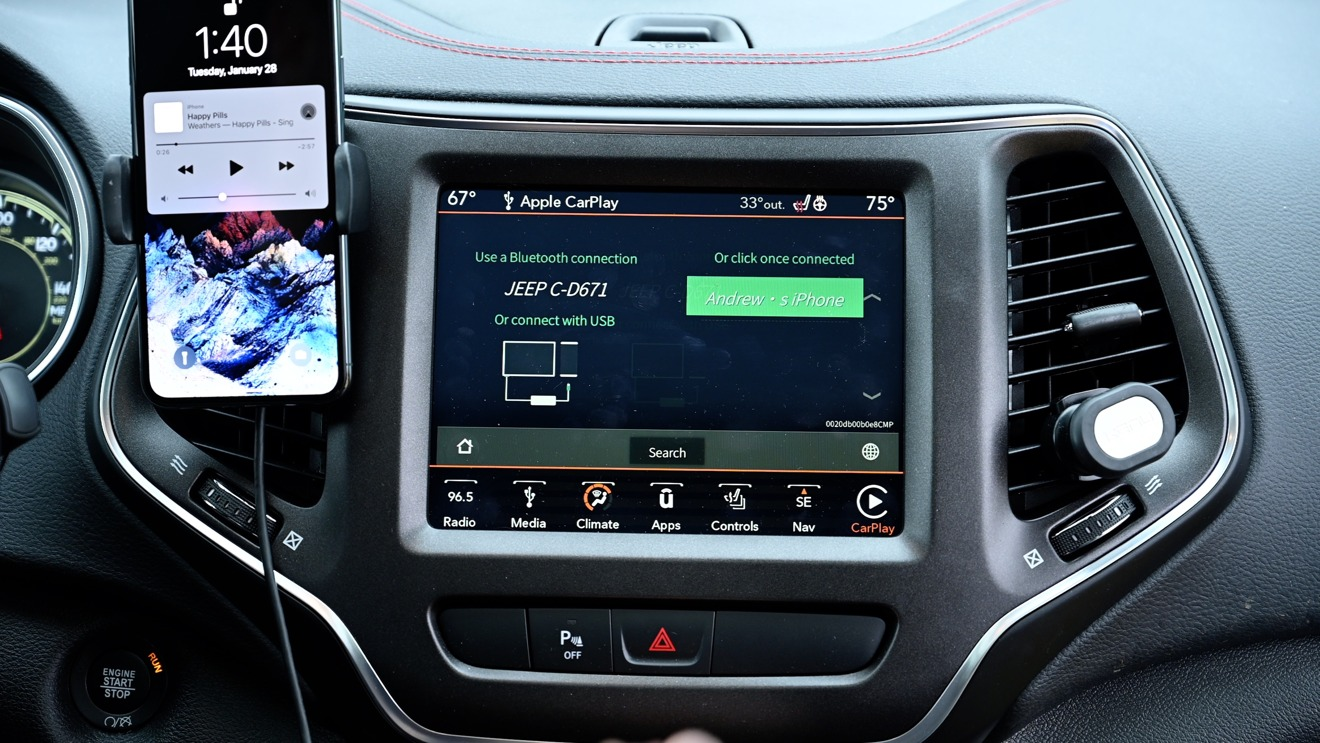 The CarPlay interface as it connects to your iPhone