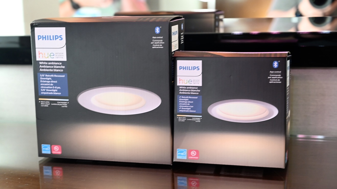 Hue can lights come in white and color and 6-inch and 8-inch sizes