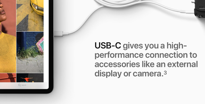 Apple is far from against adopting USB-C —  here it is promoting the feature on its iPad Pro —  but it is against the mandating of any one standard