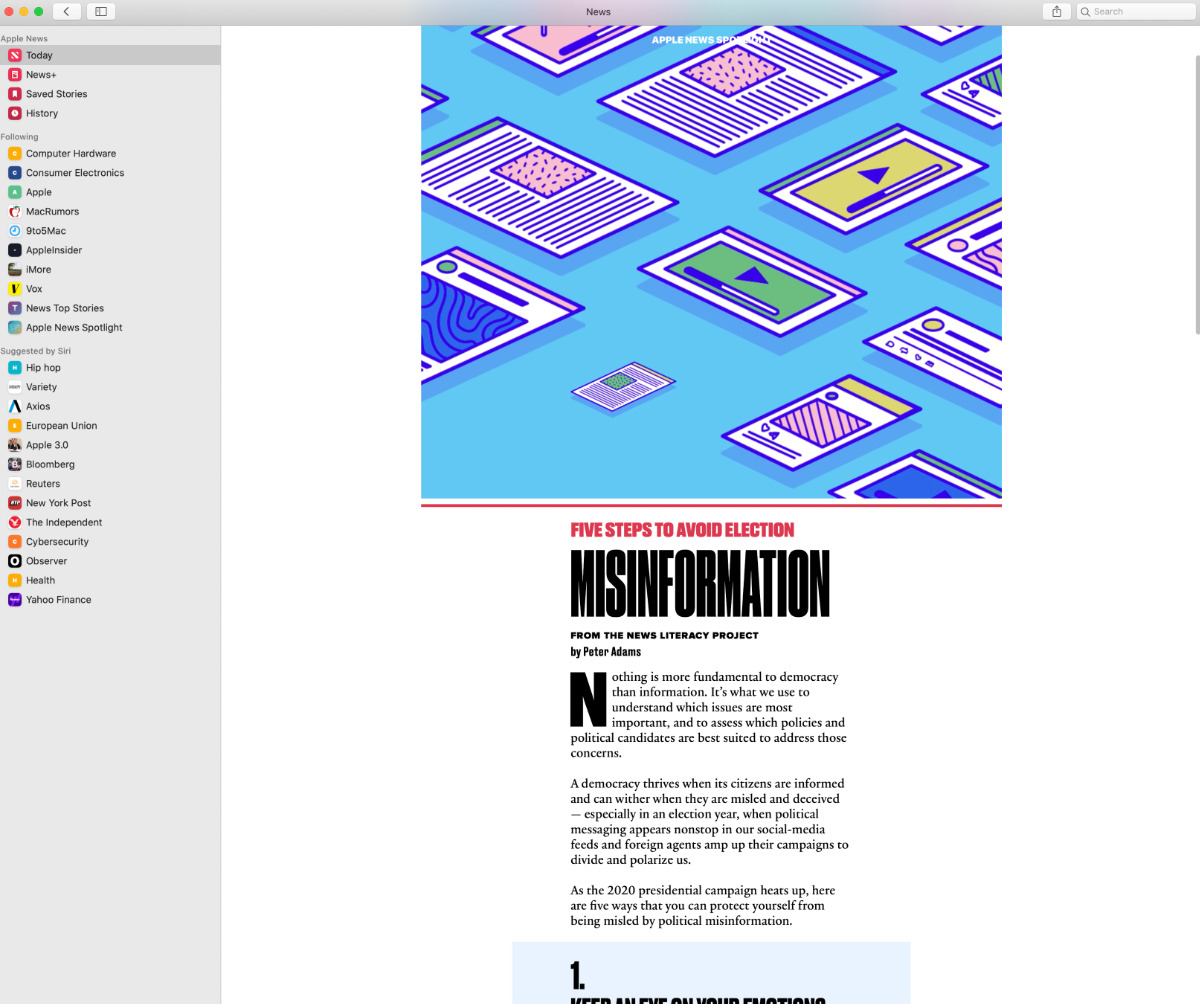The new Literacy Guide as it appears in Apple News on a Mac