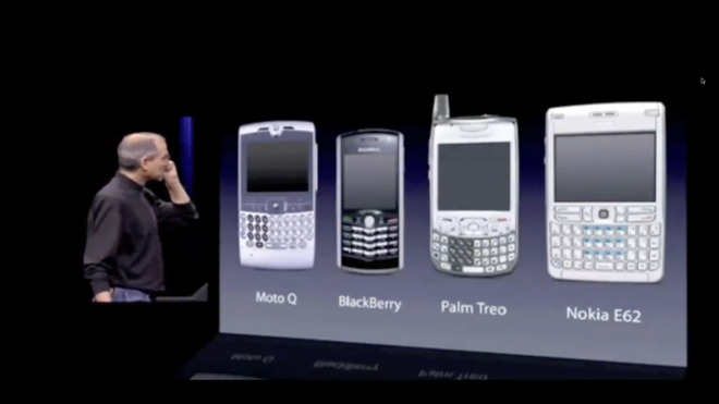 Steve Jobs in 2007, dissing the state of smartphones before unveiling the iPhone.