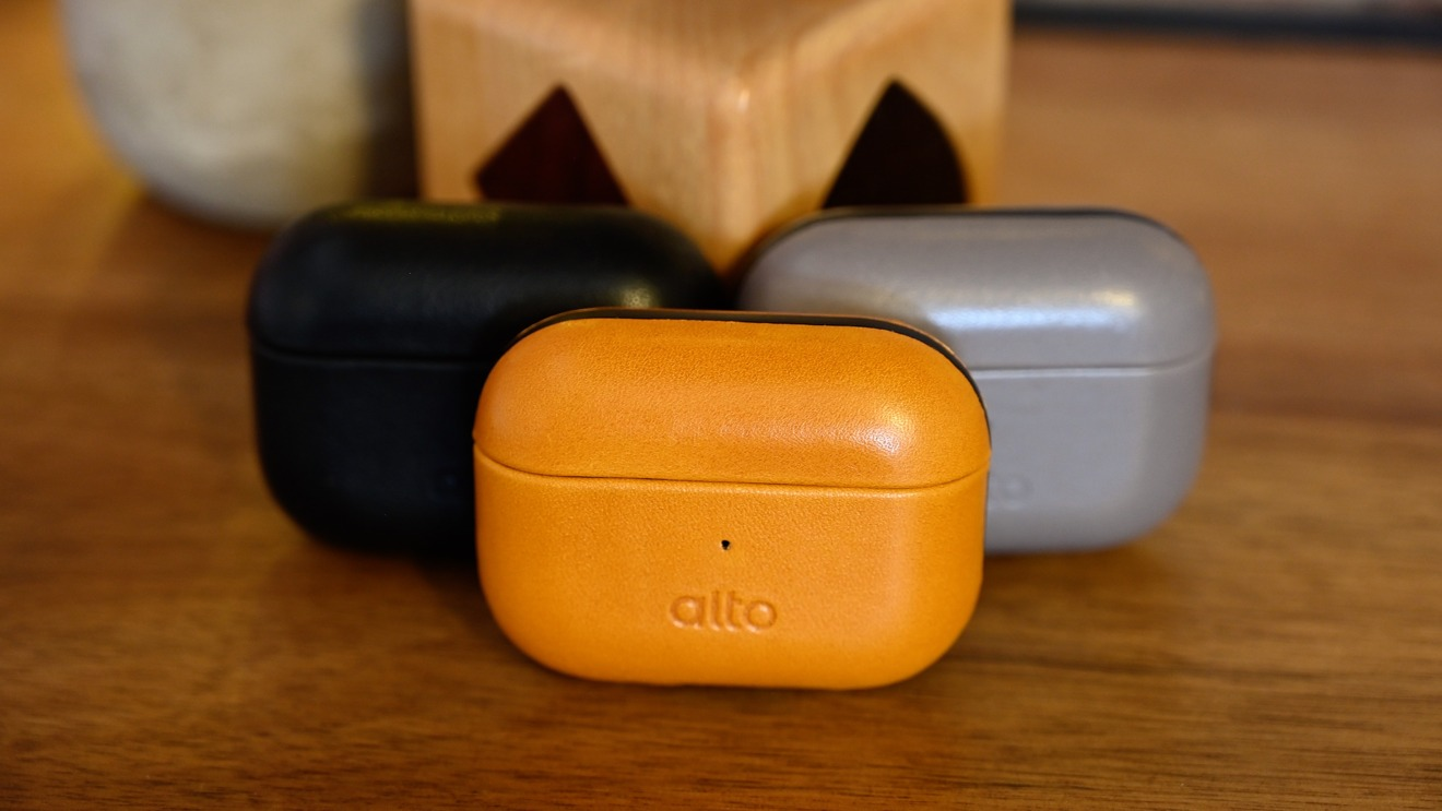 Alto's Italian leather AirPods cases in cement (grey), raven (black), and caramel (brown)