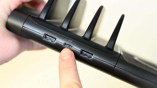 Dual 12W USB-A ports and an 18W USB-C PD port on the BaseLynx Vert charger
