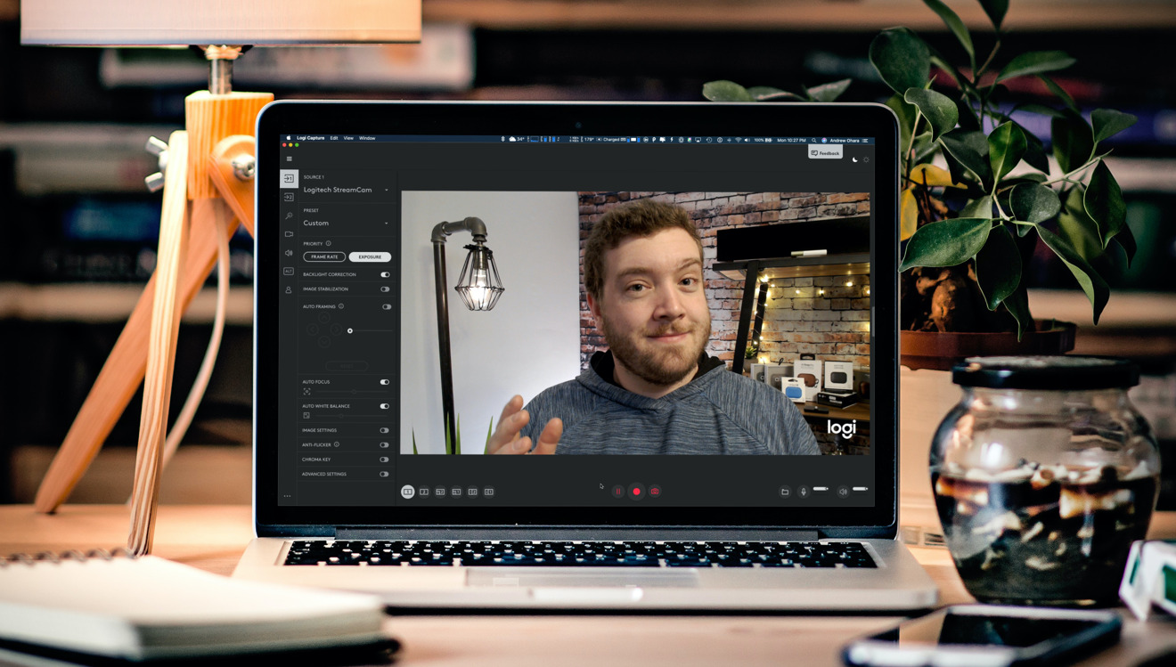 Logitech Capture 2.0 in Dark Mode on Mac