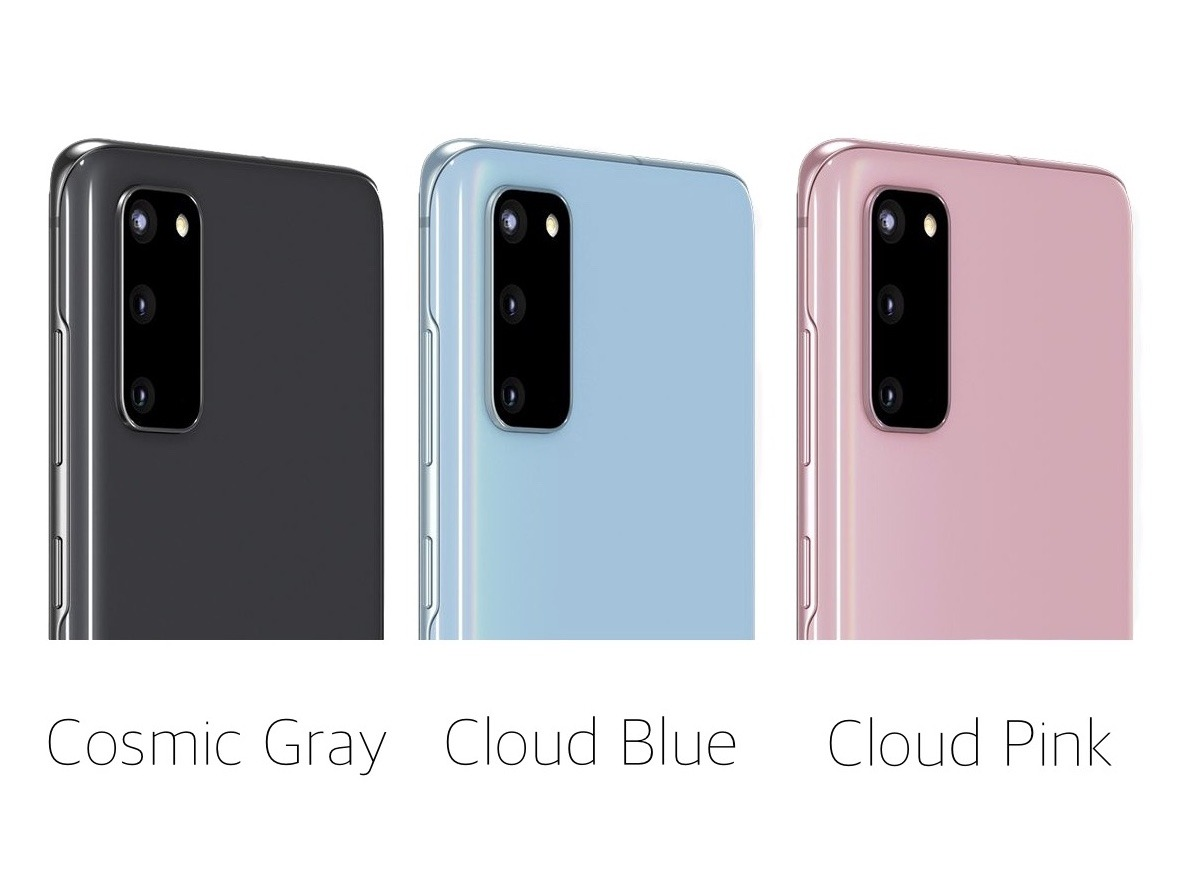 The three S20 colors: Cosmic Gray, Cloud Blue, and Cloud Pink
