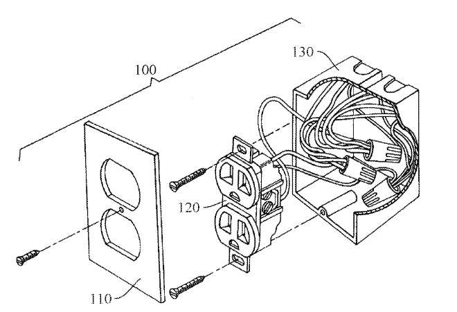 An example of an electrical outlet that could be used by Apple for the patent application
