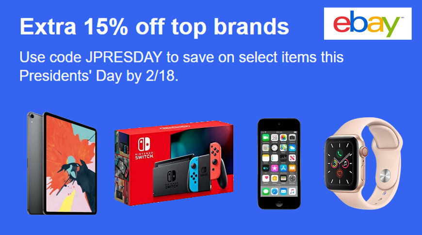 eBay coupon for Presidents Day 2020