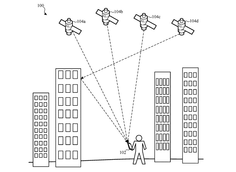 An example of how a device could have incorrect positioning due to GPS signals reflecting off a building.