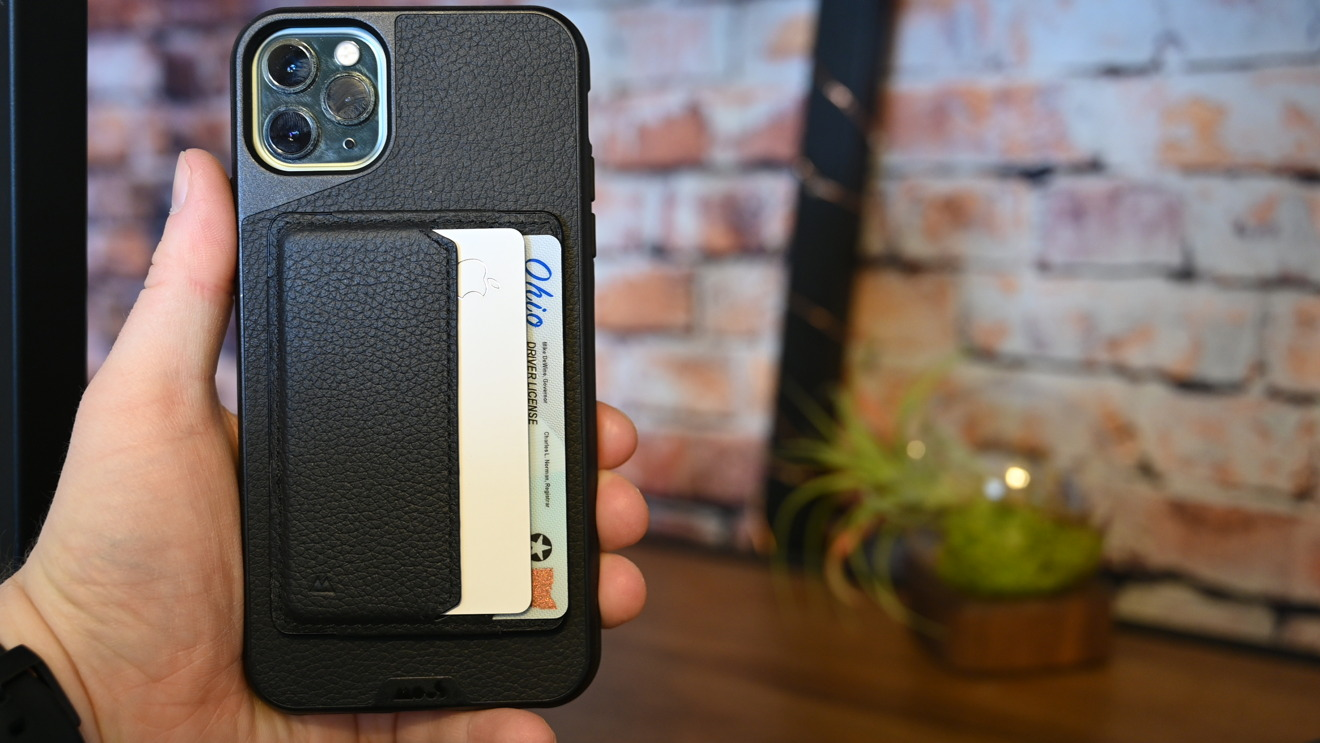 The Mous card wallet on the back of an iPhone 11 Pro Max