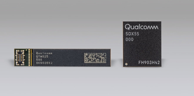 Qualcomm's X55 5G modem chip, expected to be used in the