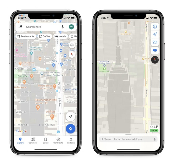 Google Maps shows every bit of data it can squeeze onto the screen, Apple Maps takes a more subtle approach