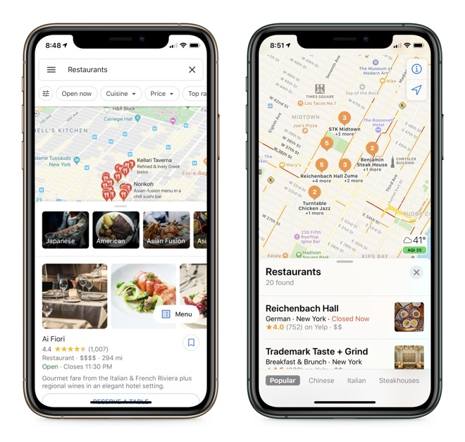 Tapping on the restaurants section in New York gave very different experiences, one readable, one not