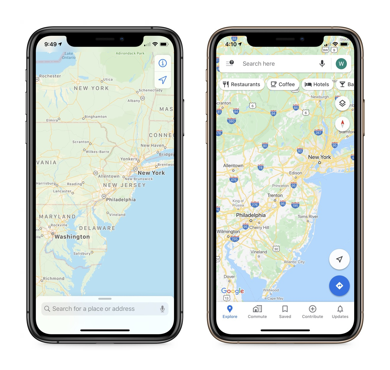 Google prioritized navigation data like highways where Apple prioritized readability at scale