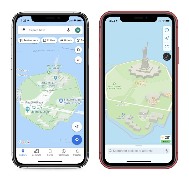 Google Maps shows walkways better, while Apple Maps iconography and colors make each location distinct