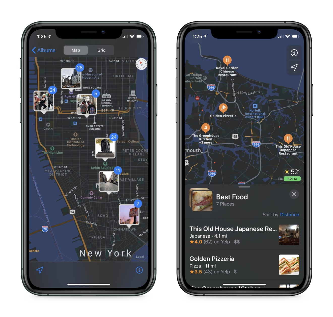 Apple Photos using Apple Maps to express location metadata (left) and Collections showing favorite places to eat (right)