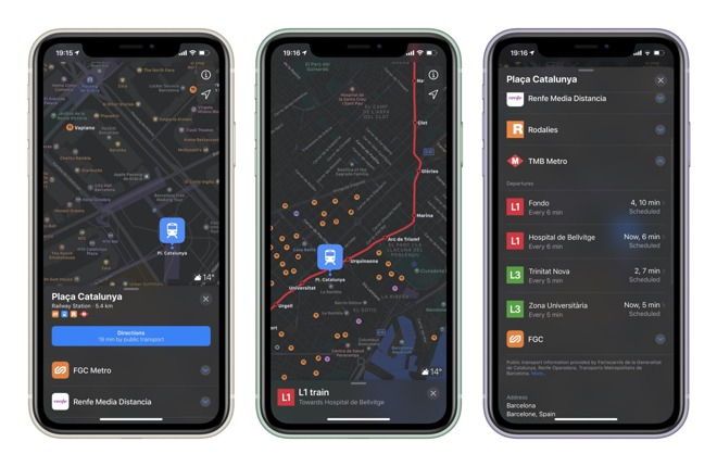 Apple Maps Transit directions in France and Spain