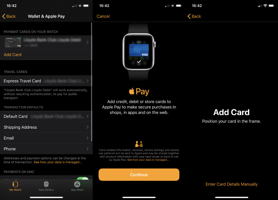 You have to add cards to the Apple Watch via the iPhone.