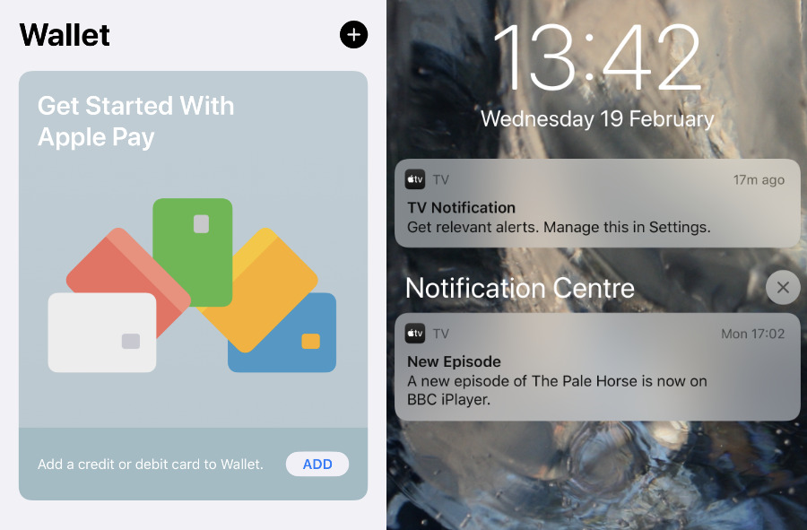 Left: an ad for Apple Wallet. Right: a pushed notification for TV —  but that's not an Apple show, and it also pushed how to stop such notifications