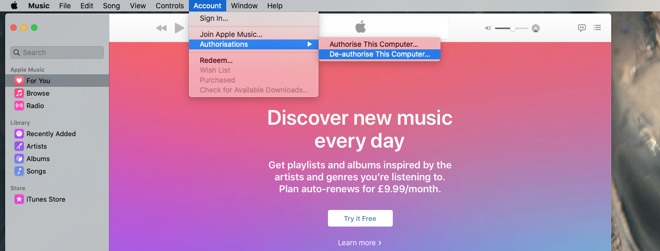 You haven't authorized or de-authorized anything since you signed up for Apple Music, but remove the authorisation now because you may need it later