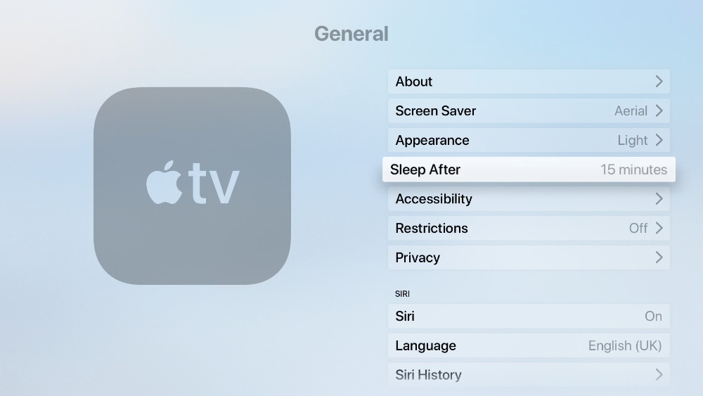 Change how long Apple TV will stay on after you've put it back on the main menu screen