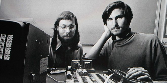 Steve Wozniak (left) and Steve Jobs in the earliest days at Apple