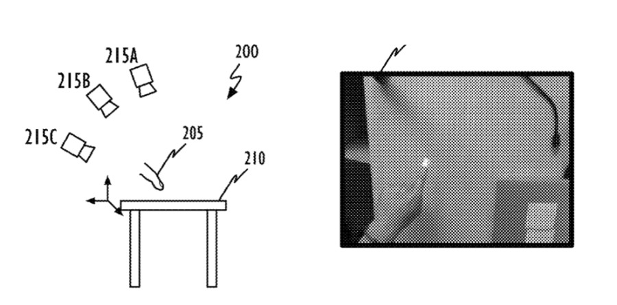 Detail from the patent showing a drawing of a multi-camera system and (right) a photo of a fingertip being detected
