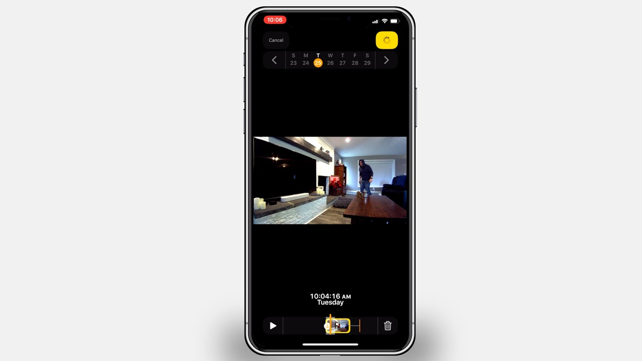 Recorded video in the Home app from HomeKit secure Video