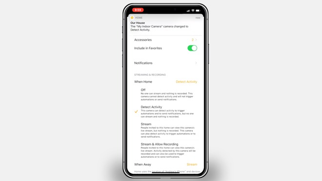 Recording options for HomeKit Secure Video
