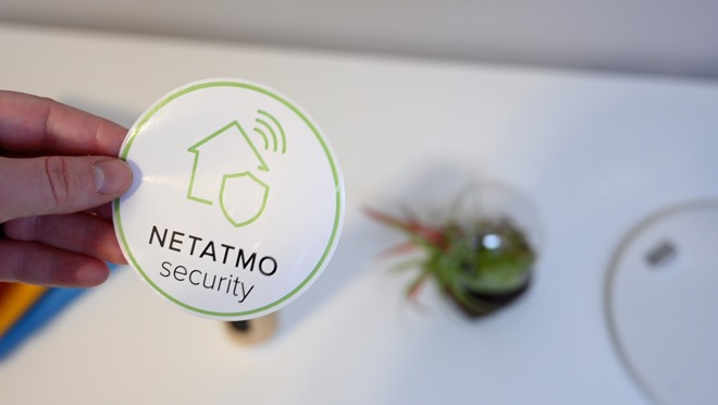A securty sticker included with the Netatmo Smart Indoor Camera