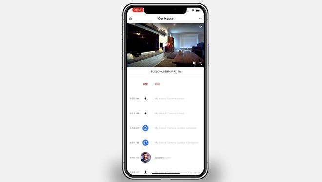 Activity timeline for the Netatmo Security app