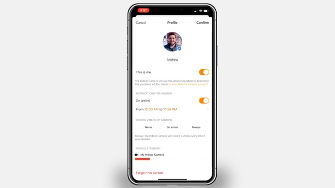 Visitor profile in the Netatmo Security app