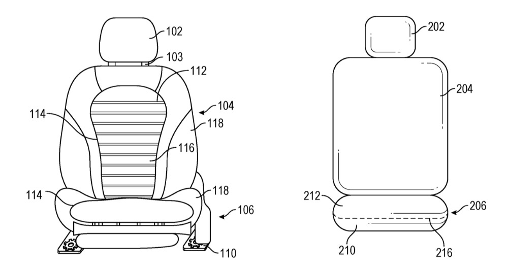 Left: how a current car seat is typically dividedi into sections. Right: Apple's proposal for a simpler version, but with motorised elements.