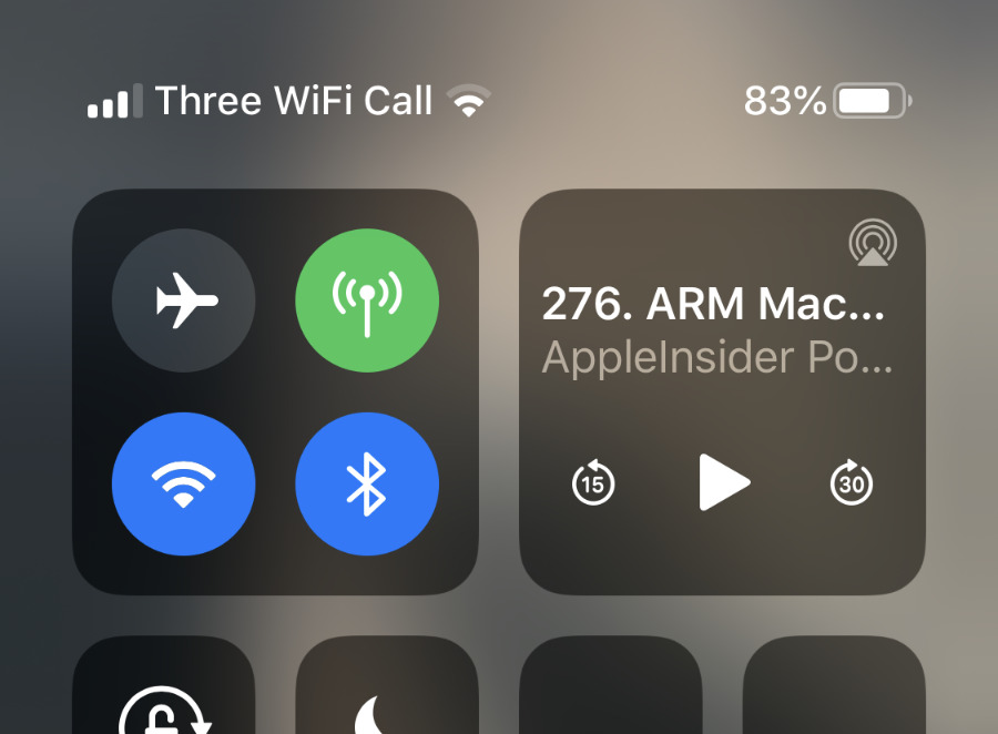 The battery charge percentage is always at the top right in Control Center
