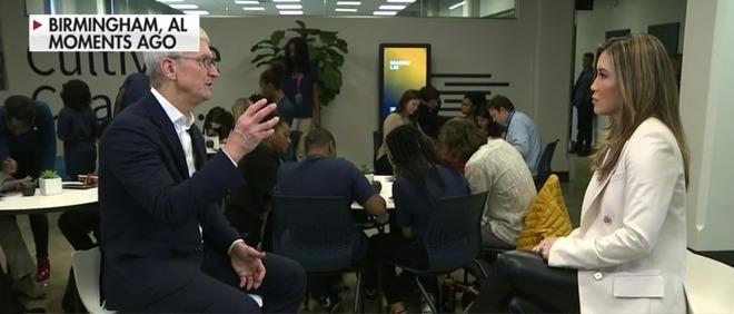 Tim Cook being interviewed by FOX Business Network's Susan Li
